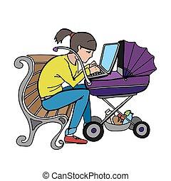 yong, fonctionnement, ordinateur portable, mère, utilisation, poussette