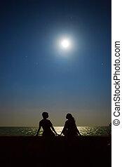 yong, sentando, par, lua, tropicais, estrelas, sob