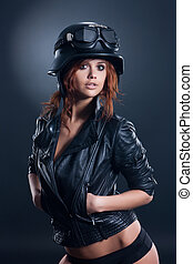 Yong Woman In Leathe Jacket And Helmet