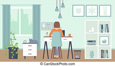Yong woman sitting at a computer at home. Cozy interior. Home office, Working at home, freelance, remote work concept. Stock vector illustration.