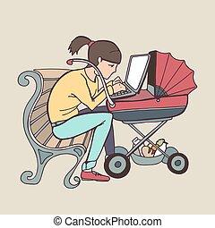 yong working mother using laptop at stroller