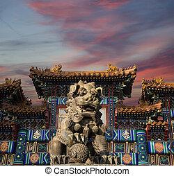 yonghe, statua, kurator, (lama, lew, porcelana, beijing, ...