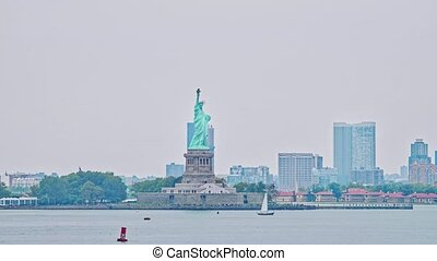 york, île, nouveau, liberté, statue