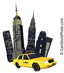 york , καινούργιος , πόλη , ταξί