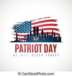 york, bannière, nouveau, horizon, jour, patriote