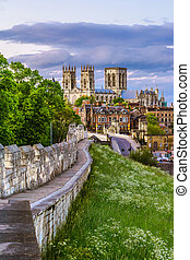 York cityscape - Cityscape of York from the mediaeval walls,...