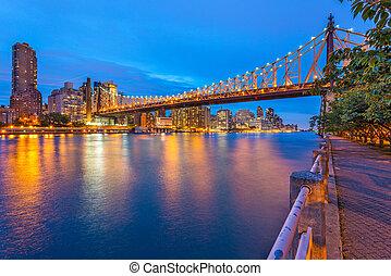 york, cityscape, río, centro de la ciudad, este, nuevo, ...