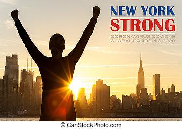 york, coronavirus, ville, réussi, levers de soleil, nouveau, texte, femme, covid-19, skyline?with