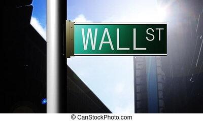 york., endroit, rue, mur, nouveau, animation, finance