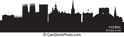 York England city skyline Detailed vector silhouette - York...