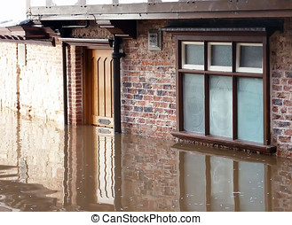 York Floods - View of fooded door and window. River Ouse,...