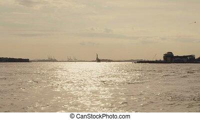 york, hudson, liberté, trafic, nouveau, statue, autour de, ...