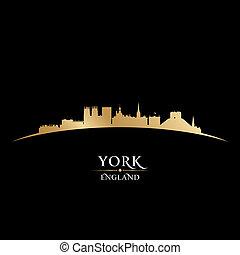 york, inglaterra, perfil de ciudad, silueta, fondo negro