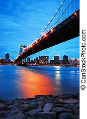 york, manhattan, ville, pont, nouveau