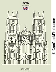 York Minster in York, UK. Landmark icon in linear style