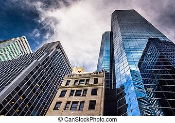 york, neu, senken,  Manhattan, Wolkenkratzer