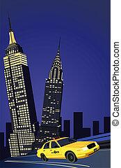 york, neu , stadt, taxifahrzeuge