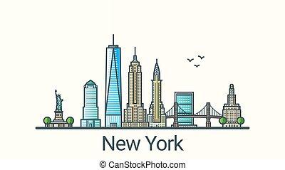 york, nouveau, bannière, ligne, plat