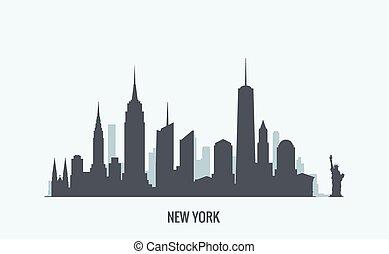 york, nouveau, silhouette, horizon