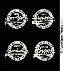 york, nouveau, t-shirt, sport, conception, ensemble, ville, étiquettes, graphique, typographie