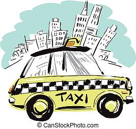 york, nouveau, taxi
