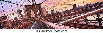 york, nouveau, ville, pont brooklyn