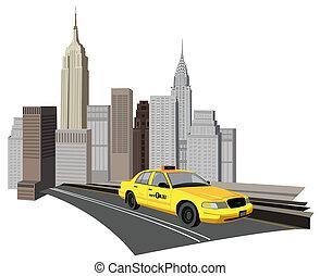 york, novo, cidade, táxi