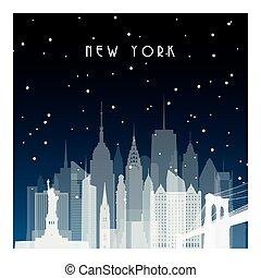 york., nuevo, invierno, noche