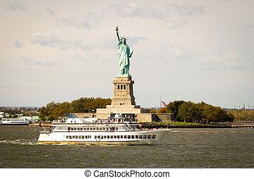york, szobor, kicsapódó, új, természetjáró, szabadság