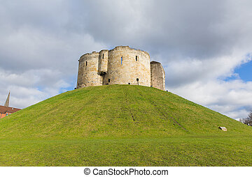 York UK Clifford`s Tower tourist attraction 13th century medieval castle