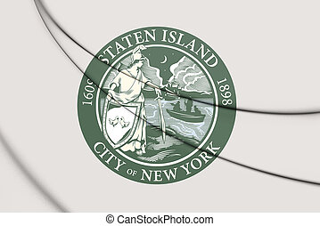york), usa., (new, eiland, staten, vlag, 3d
