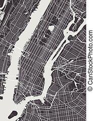 york, vector, nuevo, detallado, mapa