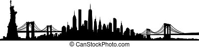 york, vettore, nuovo, skyline città