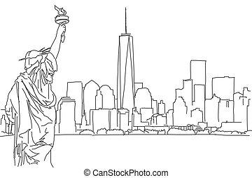 york, wektor, skyline., nowy, bazgrać, wolny, ręka, miasto, rys