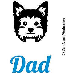 Yorkie dad in blue - Yorkie best dad ever slogan
