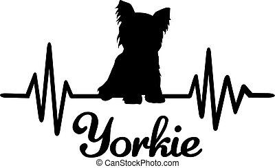 Yorkie frequency silhouette - Heartbeat frequency with...