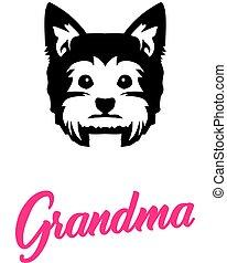Yorkie Grandma with silhouette - Yorkie Grandma silhouette...