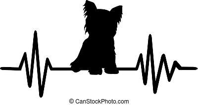 Yorkie heartbeat silhouette - Heartbeat pulse with Yorkie...