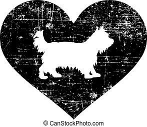 Yorkie in heart black and white - Yorkie silhouette in black...