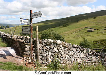 Yorkshire Dales Sign - Rusty sign post pointing to places in...