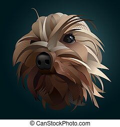 Yorkshire Dog Vector Lines Illustration