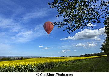 yorkshire, landschaft, -, heiãÿluftballon