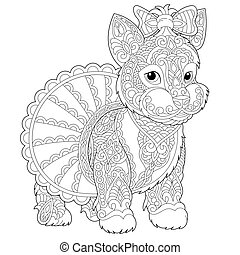 Yorkshire terrier dog coloring page - Coloring book page....