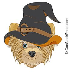 Yorkshire terrier dog in Halloween hat