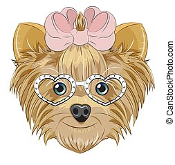 Yorkshire terrier dog in heart glasses