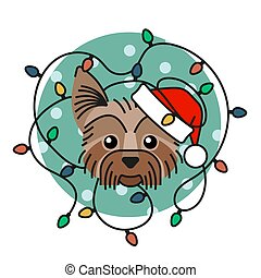 Yorkshire terrier dog in santa claus hat