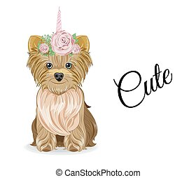 Yorkshire terrier dog unicorn