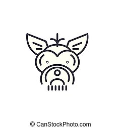 yorkshire terrier  vector line icon, sign, illustration on background, editable strokes