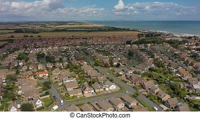 yorkshire, vue, résidentiel, 4k, area., est, aérien, nouveau, uk., hornsea