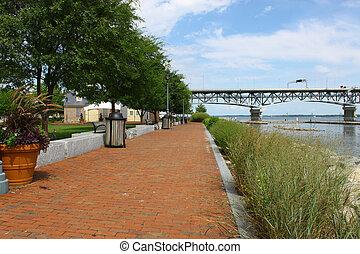 Yorktown riverwalk landing running along the york river in Yorktown Virginia